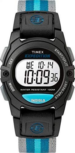 Timex Unisex TW4B13100 Expedition Mid-Size Digital CAT Black/Gray/Blue Nylon Strap Watch