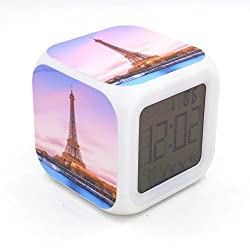 Daojiao New Alarm Clock Eiffel Tower Creative Desk Table Digital Alarm Clock with Large Screen Led Backlights Thermometer Snooze Hourly Chime Talking Clock for Adults Kids Children Toy Gift