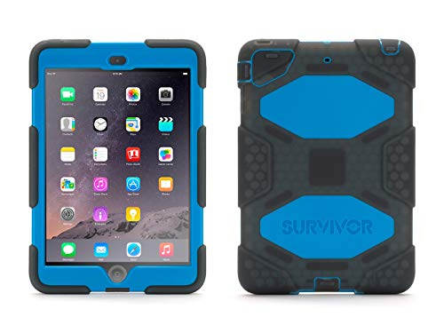 Griffin Survivor All-Terrain iPad Mini 1/2/3 Case with Stand - Impact-Resistant and Rugged Design, Blue/Smoke