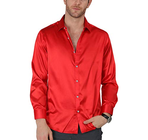 - VICALLED Men's Satin Luxury Dress Shirt Slim Fit Silk Casual Dance Party Long Sleeve Fitted Wrinkle Free Tuxedo Shirts Red