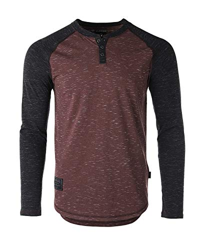 (ZIMEGO Men's Long Sleeve Athletic Stripes Arm Contrast Basic Raglan Henley Maroon/Black)