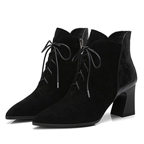 Blacksingleshoes Damas Puntiagudos Trabajo Cremallera RLYAY Carrera Salvaje Botines Lado Negro Terciopelo Altos Plus Zapatos Tacones 16Inqx
