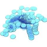 100 Stk. Klar Blau Plastik Bingo Chips 3/4 Inch