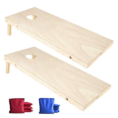 EXERCISE N PLAY Wood Premium Cornhole Set, Cornhole Toss Game Set, Backyard Lawn Cornhole Outdoor Game Set, Regulation Size Cornhole Boards & 8 Cornhole Bean Bags (4ft x 2ft) -