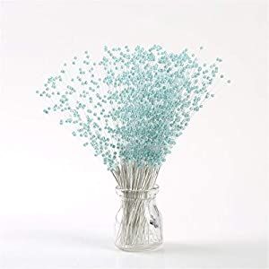 YUJUAN 100Pcs/Pack Artificial Fake Flowers 4mm Handmade Pearl Beading Wedding Bridal Flower Bouquet Party Table Decorations 23