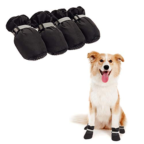 BINGPET Dog Shoes Waterproof Dog Boots, Paw Protectors with Reflective and Adjustable Straps,...