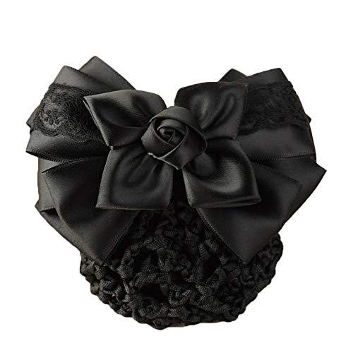 Lace Satin Bow Lady Cover Bowknot Decor Barrette Hair Clip Bowknot Net Bun Snood (Color - #10)