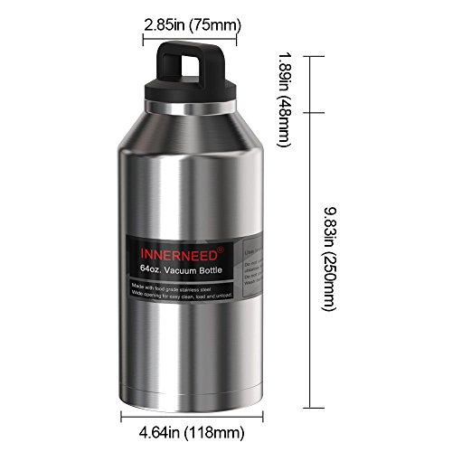INNERNEED 64 oz Insulated Water Bottle Leak-Proof Stainless Steel Double-Walled Vacuum Flask Large Capacity Beer Growler by Innerneed (Image #1)