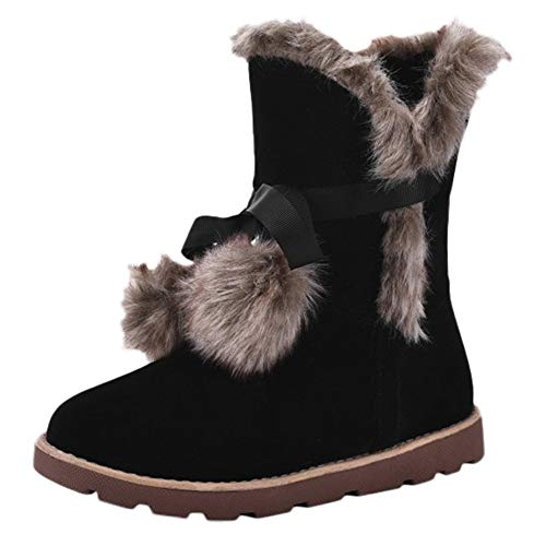 Frame Clearance Tubes - Winter Womens Flat Cotton Shoes Round-Toe Non-Slip Keep Warm Faux Fur Plush Middle Tube Snow Boots Size 5.5-9.5 (Black, 8 B(M) US)