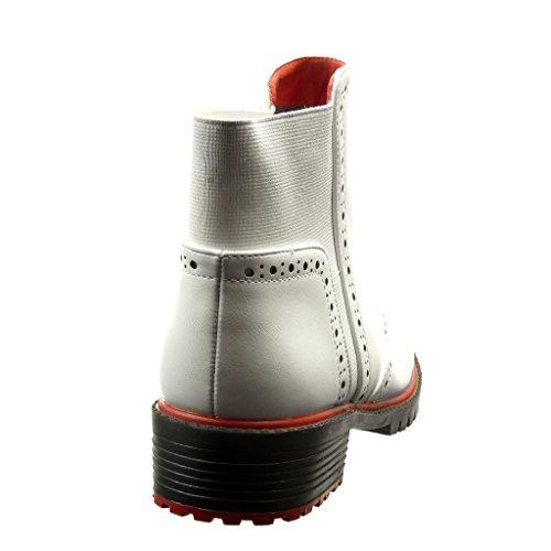 Angkorly - Zapatillas de Moda Botines zapato derby chelsea boots mujer perforado Talón Tacón ancho 3.5 CM - Blanco