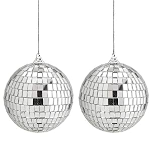 Kicko Mirror Disco Ball 2 Pack – 4-Inch Cool and Fun Silver Hanging Party Disco Ball – Party decorations, Party Design, Dance and Music festivals
