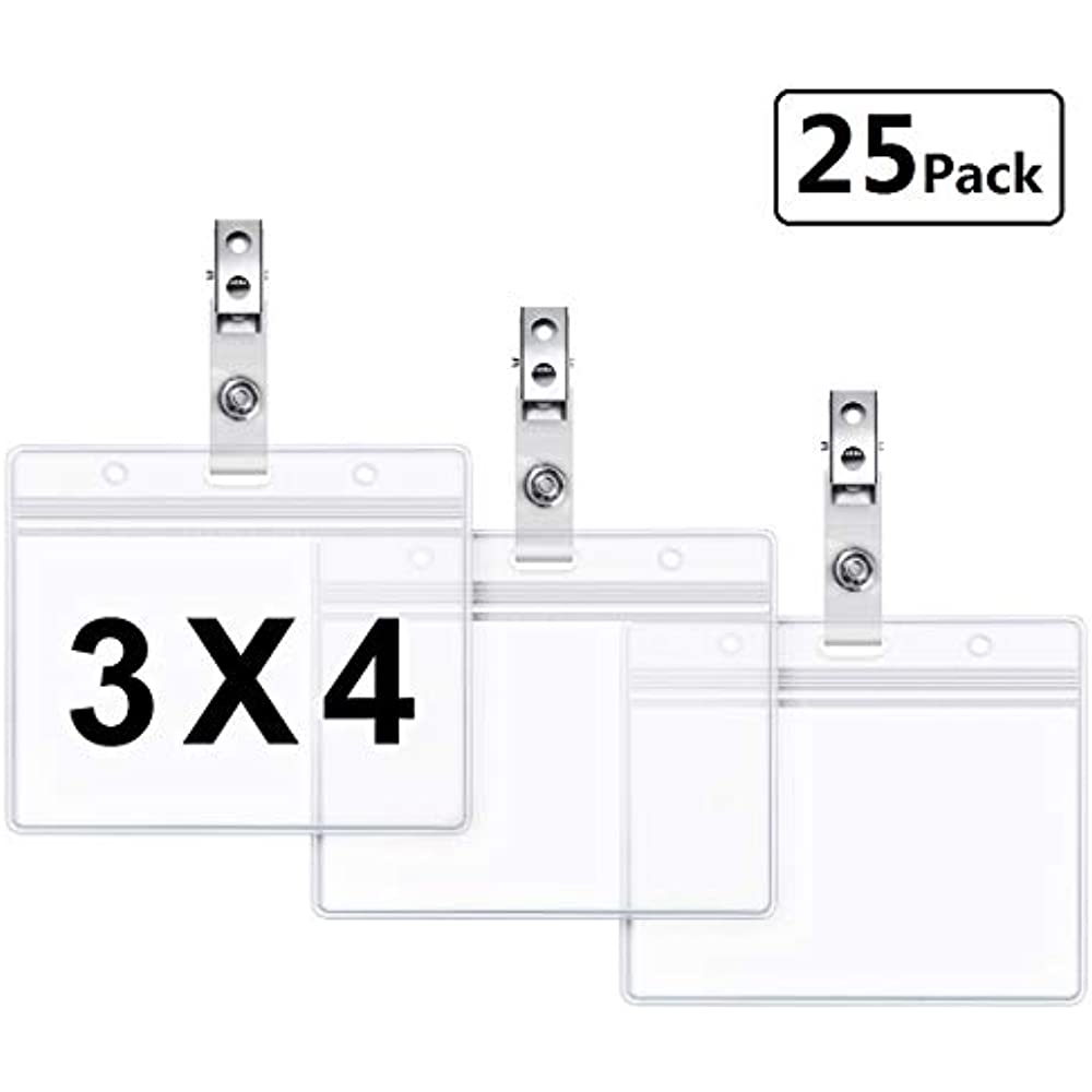 6f26322e36d2 Details about Clear Badge Holders Plastic Horizontal Name Tag And Metal  Clips With Vinyl PVC