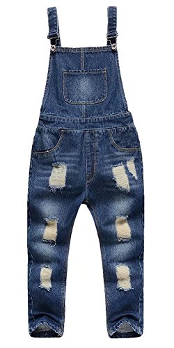 Boy Girl Overalls (Boys Distressed Destroyed Ripped Holes Denim Jeans Bib Overalls Pants Blue 5-6Years=Tag 130)