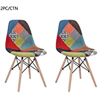 Homy Casa Patio Dining Room Chairs Seat Pad Wood Leg with Cap Knock Down Design,L18.5''*W18.5*H30.5''