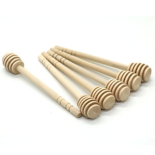 (HUELE 12 Pcs 6 Inch Wood Honey Dipper Stick Server for Honey Jar Dispense Drizzle Honey New)