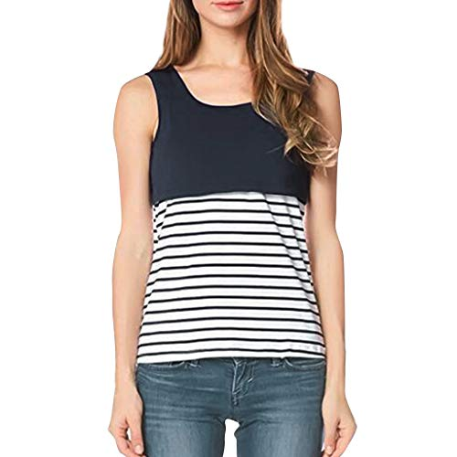 Women's Round Neck Back Criss Cross Nursing Tank Tops for Breastfeeding Blue