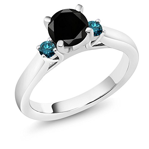 (Gem Stone King 1.25 Ct Round Black Diamond Blue Diamond 925 Sterling Silver 3-Stone Ring (Size 8))