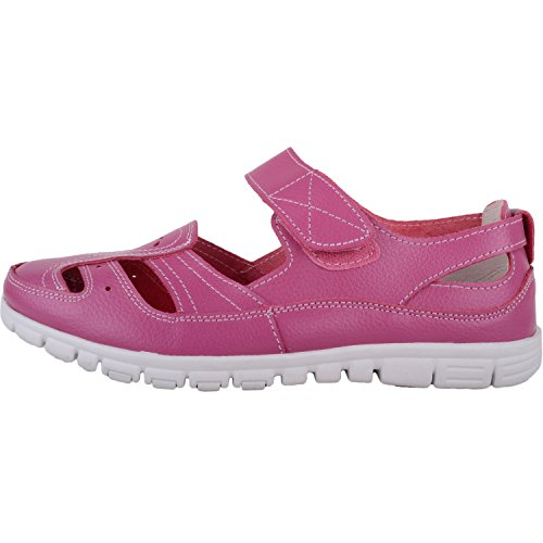 Assolute Causual Raspberry Fitting Summer Leather Sandals Shoes Calzature Holiday Wide Womens Eee dqxAPwtn