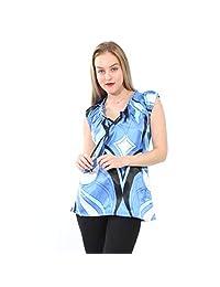 024a699f4a Village Venture Blusa de Satín de Estampado Color Azul- Mod ...