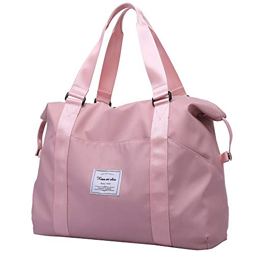 BAAFG Travel Bag Large Holdall Women Weekend Bag Canvas Travel Holdall,Pink-small