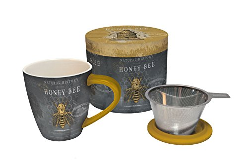 LANG - Honey Bee - 17 Oz. Ceramic Tea Infuser - Stainless Steeper, Ceramic Cover & Mug - Art by Chad Barrett (Dinnerware Bumble Bee)
