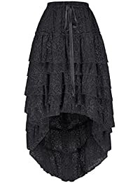 Women's Gothic Steampunk Victorian Retro Floral Lace High-Low Cake Skirt