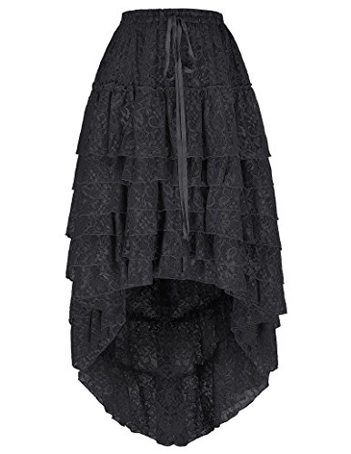 Belle Poque Women's Ruffled Floral Lace High-Low Long Cake Skirt with Draw String (S~L , BP221-2)