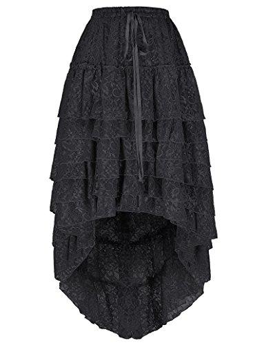 Belle Poque Multi Layered Ruffles Retro Gothic Long Short Skirts For Women L~XXXL, BP221-2
