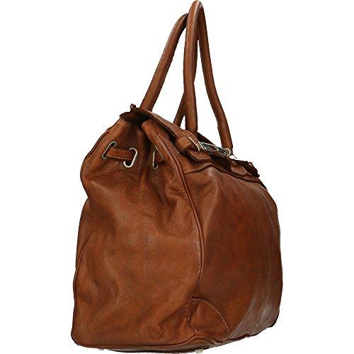 Bolso de mujer Chicca Borse Vintage en Piel Genuina Made in Italy 37x36x18 Cm marrón