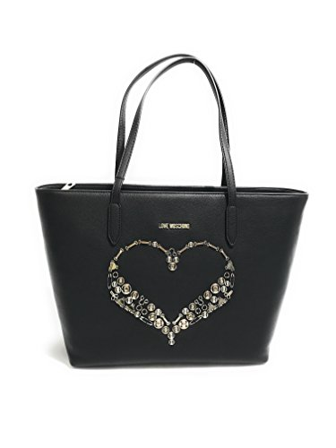 BORSA DONNA LOVE MOSCHINO SHOPPER ECOPELLE SMAILL GRAIN COLORE NERO B18MO128