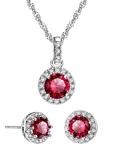 (Mints 2ct Ruby Jewelry Set Sterling Silver Pendant Necklace Stud Earrings July Birthstone Gemstone for Women)