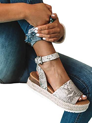 - FISACE Womens Espadrilles Snake Print Slingback Peep Toe Platform Wedge Sandals Summer Studded Ankle Strap Shoes