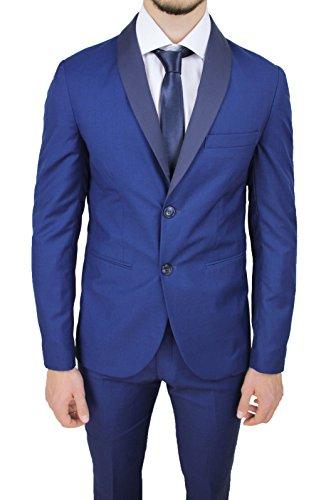 Abito completo uomo sartoriale made in Italy blu chiaro raso slim fit elegante cerimonia