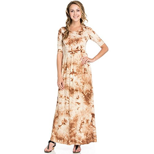 Simlu Women's Long Rayon Maxi Dress, Scoop Neck and Empire Elastic Waist, Feathery Mocha, Small]()