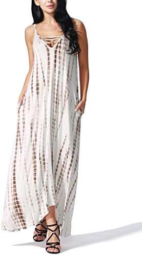 JayJay Women Loose Fit Sleeveless Tie Dye Maxi Long Dress With Pocket