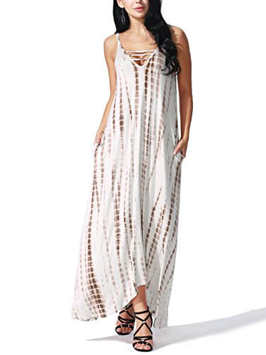 JayJay Women Casual Maxi Tie Dye Print Sleeveless Long Dress With Pocket,BROWN,XL