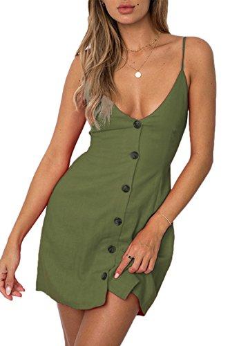 Femmes Plage Zonsaoja Chemise Bretelle De Robe Summer Armygreen N Mini Cravate ud Fine Fww1dqa