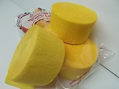 4 ROLLS, YELLOW Crepe Paper Streamers 290 ft Total - Made in USA! by Greenbrier