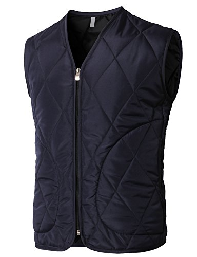 H2H Men's Classic Outwear Down Vest Lightweight Stand Collar Quilted Down Coat Navy US 2XL/Asia 3XL (KMOV0165) ()