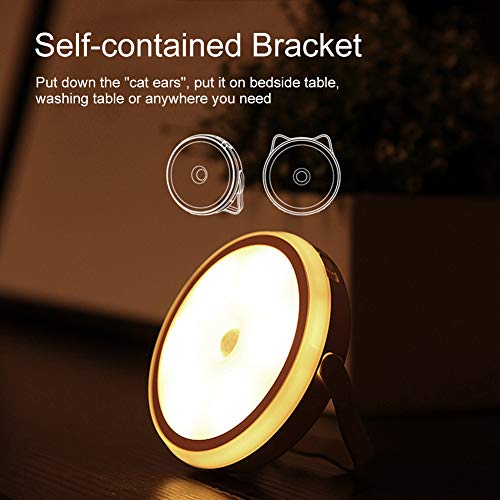 Motion Sensor Light, Cordless LED Night Light, Stick-anywhere Light with Magnetic, Hangable, 3 Brightness Adjustable, Warm Light Touch Lamp for Home, Kitchen, Hallway, Cabinet, Closet, Stairs Bathroom