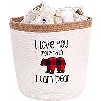 DECOMOMO Bear Cotton Rope Storage Basket   Woven Décor Blanket Hamper with Handles   Great for Living Room/Nursery…