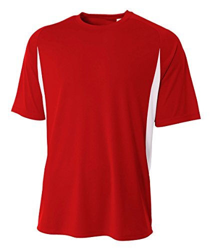 Short Sleeve Performance Tees - A4 Men's Cooling Performance Color Block Short Sleeve Tee, Scarlet/White, X-Large