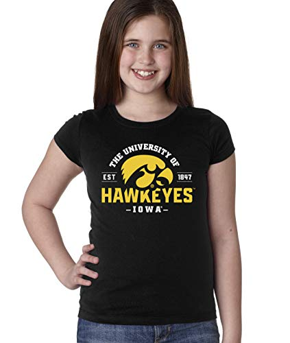 CornBorn Iowa Hawkeyes Youth Girls Tee Shirt - The University of Iowa Hawkeyes EST 1847 - Black - Large
