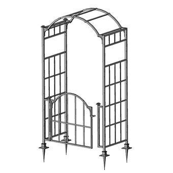 Tür metall  Stabiler Rosenbogen mit Tor / Tür Metall B: ca. 120 cm T: 70cm ...