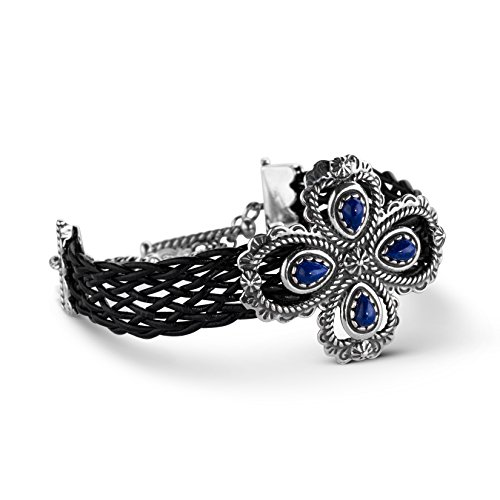 American West Sterling Silver Blue Lapis Gemstone Black Woven Leather Toggle Bracelet Size -