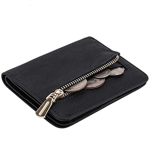 Itslife Women's Rfid Blocking Small Compact Bifold Leather Pocket Wallet Ladies Mini Purse with id Window (Stripe Black)
