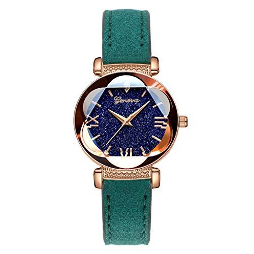 -  Orcbee  _Roman Star Dial Six Convex Sleek Minimalist Luxury Leather Strap Watch (Green)