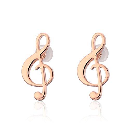 Stud Earring for Women,Music Note Earring Stud Girls Gold Silver Dangle Earring Stainless Steel Earring (Rose Gold Plated)
