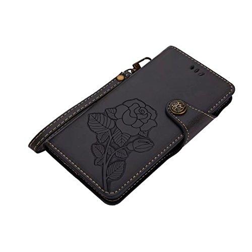 Hülle Nokia 5 Handyhüllen, Ougger Fabric Design Tasche Leder Schutzhülle Bumper Schale Weich TPU Silikon Magnetisch-Stehen Beutel Flip Cover hülle Tasche Nokia 5 mit Kartensteckplätzen, Blumendruck (B Schwarz