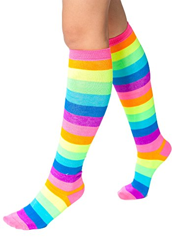 Sidecca Women's Knee High Neon Rainbow Athletic Stripe Socks (One Size, -
